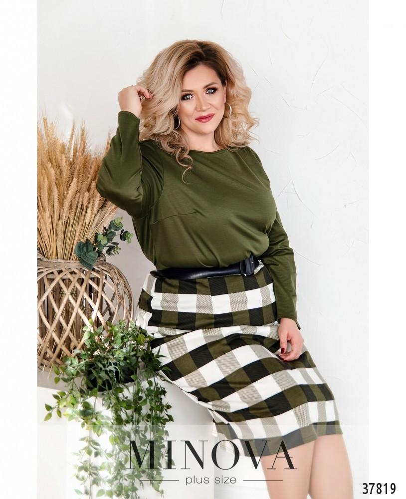 Стильный трикотажный юбочный костюм больших размеров 50-68