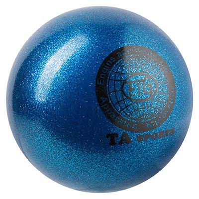 Мяч для художественной гимнастики D-19 см синий с блестками