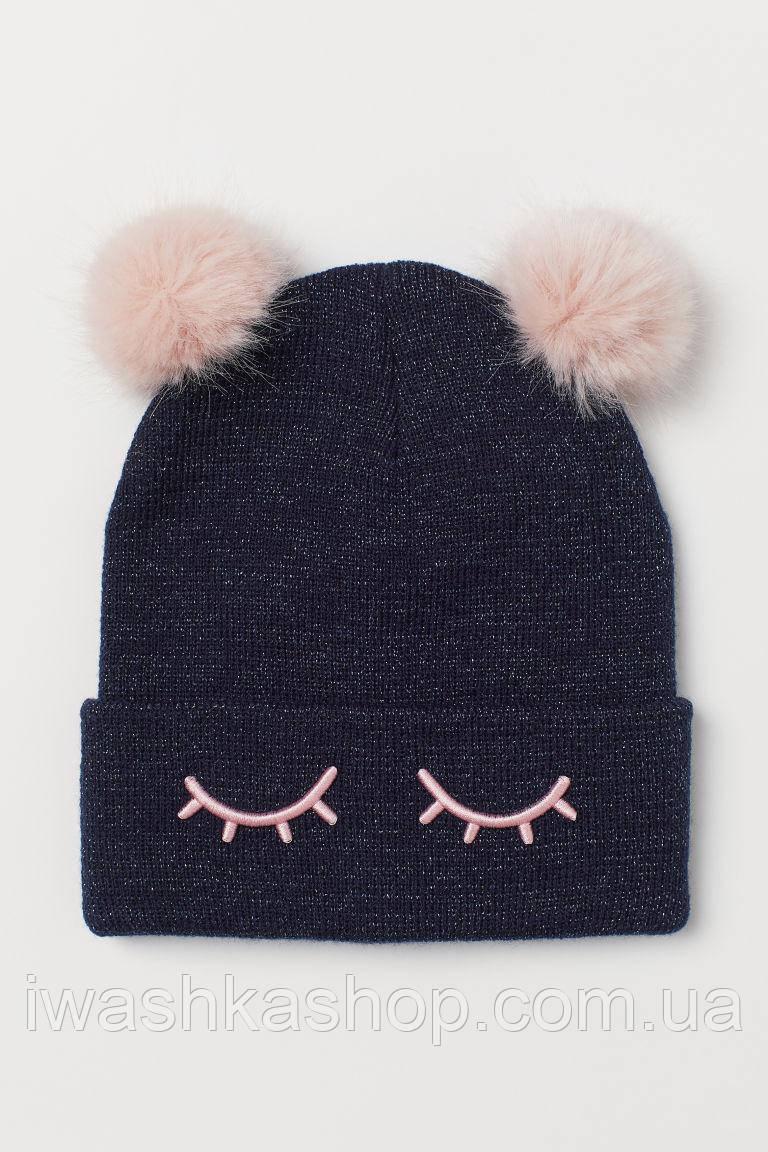 Темно-синяя шапка тонкой вязки с помпонами и люрексом на девочек 1,5 - 4 года, р. 92 - 104, H&M