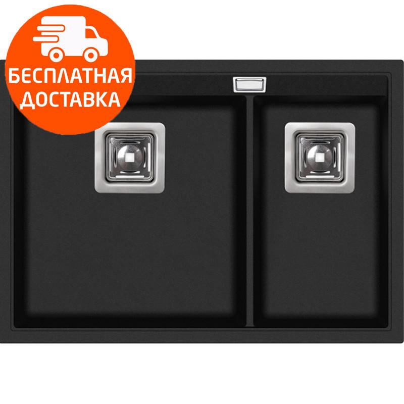 Мойка для кухни гранитная Aquasanita Delicia SQD-150AW-601 черный металлик