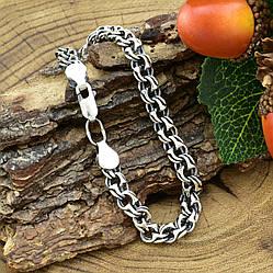 Серебряный браслет с чернением Турецкий Бисмарк длина 24 см ширина 7 мм вес серебра 18.5 г