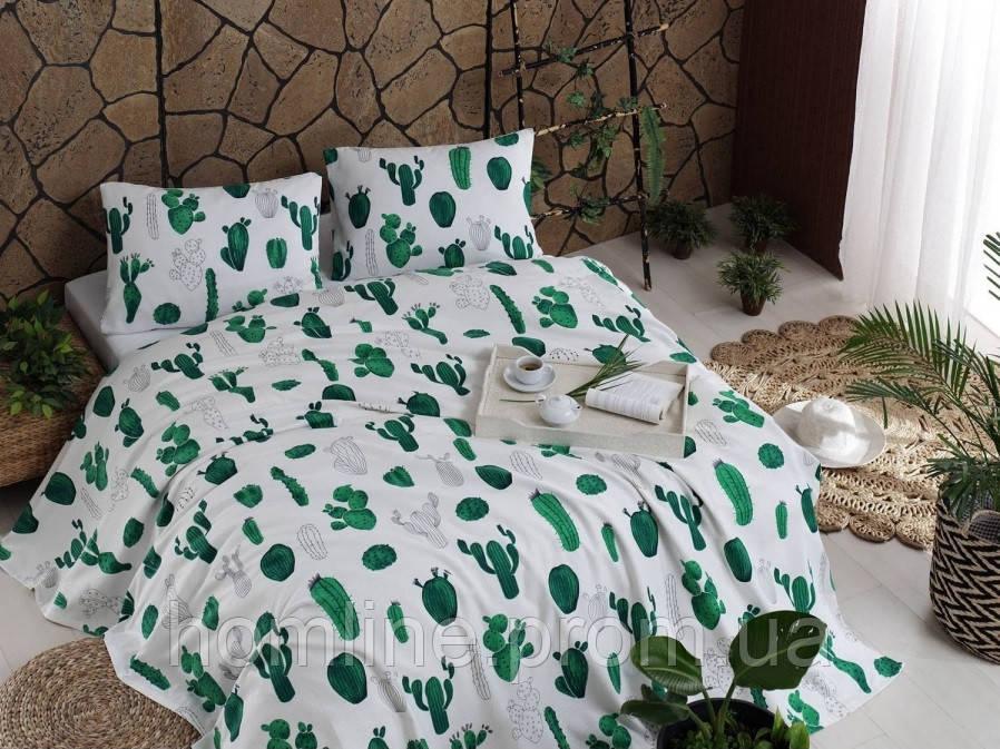 Покрывало 200*235 летнее пике Eponj Home Kaktus yesili зеленый вафельное