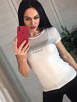 Модна жіноча турецька футболка з написом з каменів, біла, фото 1