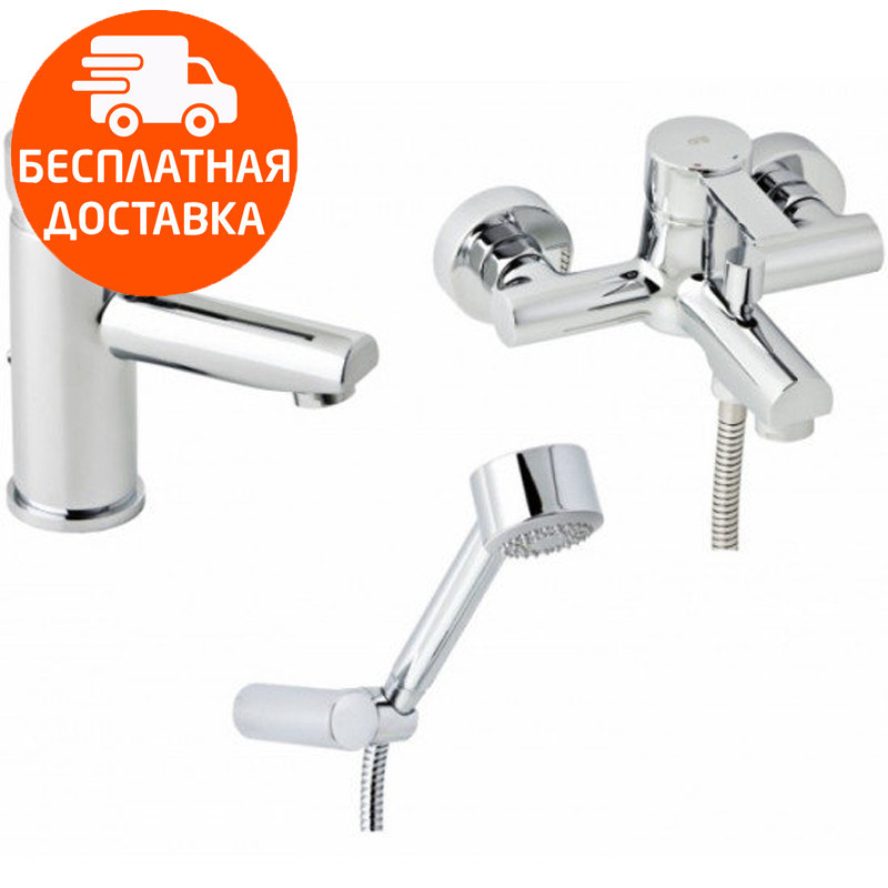 Набор смесителей для ванны без штанги 3 в 1 Genebre Tau2 03TA2-bath хром