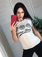 Модна легка жіноча турецька футболка з написом, біла, фото 1