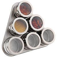 Набор баночек для специй на магнитной подставке 6 шт для приправ на кухню или для кофейни