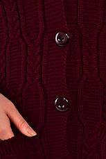 Вязаная жилетка для полных бордовая Нэлли, фото 3