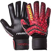 Оригинальные вратарские перчатки REUSCH футбольные с защитой пальцев взрослые Черный-красный (FB-915B) 9