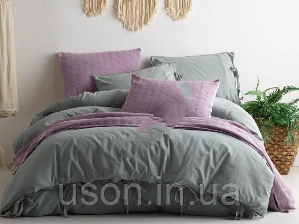 Комплект постельного белья из вареного хлопка размер евро LIMASSO NATURAL GREEN BAGCIK