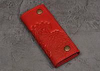 Ключница кожаная красная, орнамент Цветы 6 карабинов, фото 1