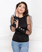 """Женская блузка с прозрачными рукавами и пуговицами """"Лозанна"""", фото 2"""