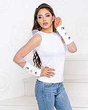 """Женская блузка с прозрачными рукавами и пуговицами """"Лозанна"""", фото 3"""