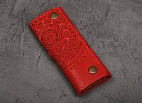 Ключница кожаная красная, орнамент Мандала, 6 карабинов, фото 1