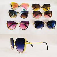 Солнцезащитные очки в  трендовой  металической  3Dоправе. Модель 20 г.