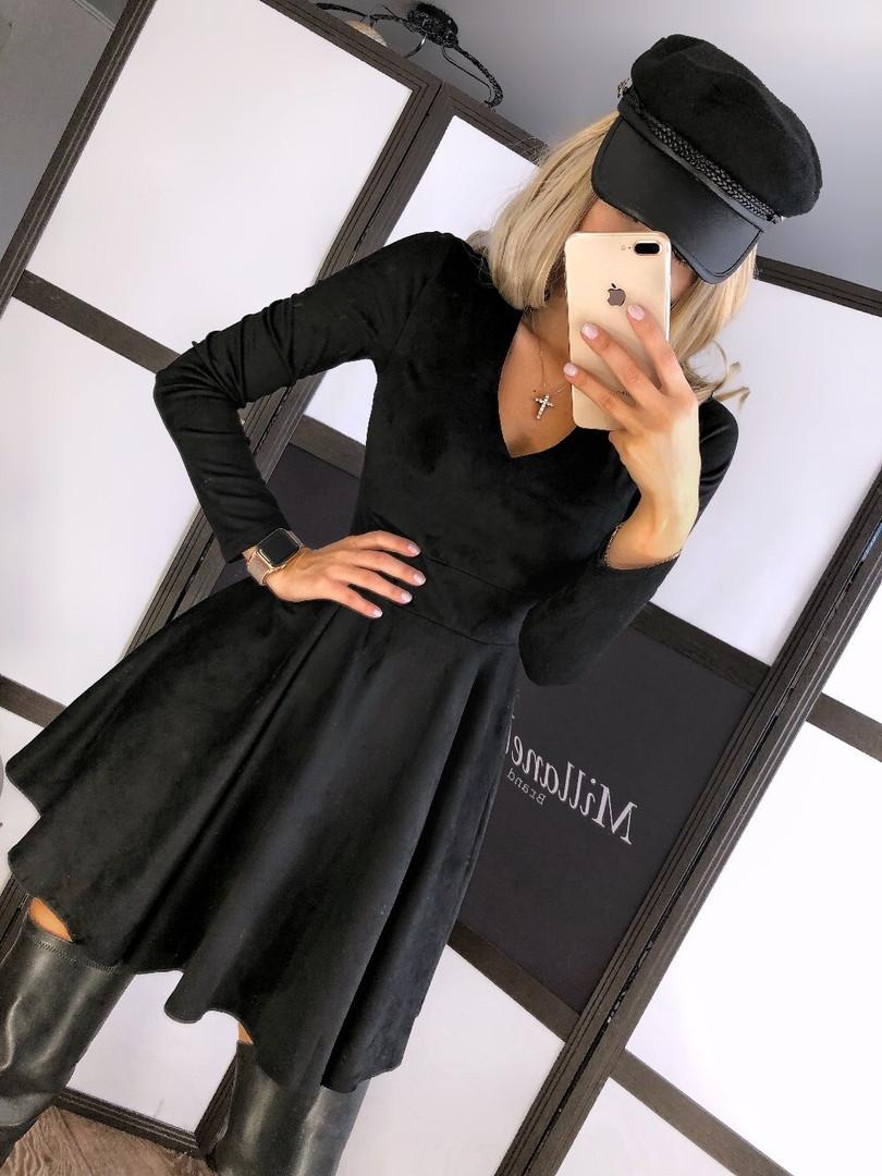 Женское стильное черное замшевое платье