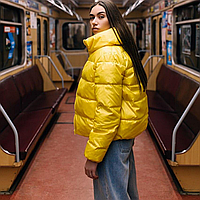 Куртка дутая женская короткая желтая