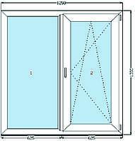 Окно металлопластиковое REHAU Euro-Design 60. 1-кам.