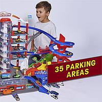 Большой паркинг набор с машинками для мальчиков Majorette Гараж Супергород 7 уровней 6 метал машинок 2059989, фото 1