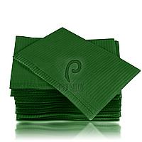 Стоматологические салфетки нагрудники непромокаемые, 500 шт, 45х32см, темно-зеленые