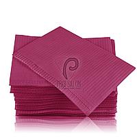 Стоматологические салфетки нагрудники непромокаемые, 500 шт, 45х32см, малиновые