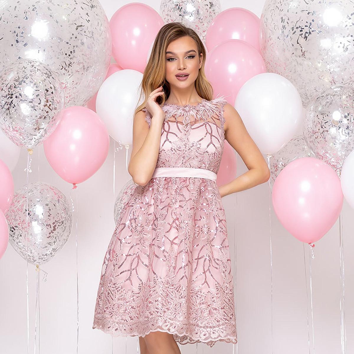 """Короткий мереживне вечірній пишна рожева сукня """"Софія"""""""