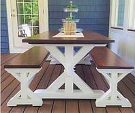 Садовая мебель 1800х800 из массива дерева от производителя для дачи, кафе, комплект Farmhouse Hand Made - 01
