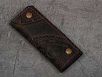 """Ключница кожаная коричневая, орнамент """"этно"""", 6 карабина, фото 1"""