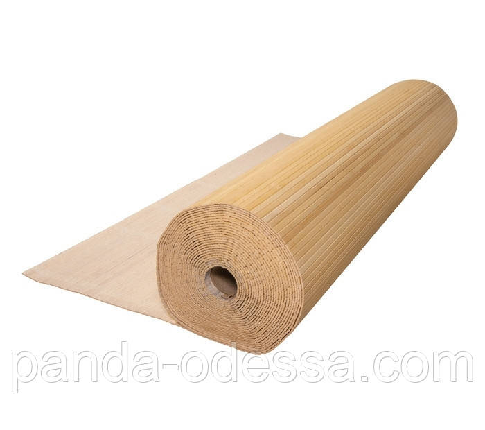 В пределах отрезка 3 м.п./ Бамбуковые обои светлые, 1,5 м, ширина планки 8 мм / Бамбукові шпалери