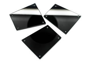 Зеркальные стразы, Размер:30x34 мм, Цвет Черный. Цена за 10шт.