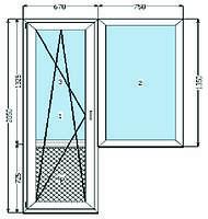 Балконный блок REHAU Euro-Design 70. 2- кам.