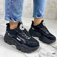 Женские кроссовки черные эко-кожа+ сетка на платформе