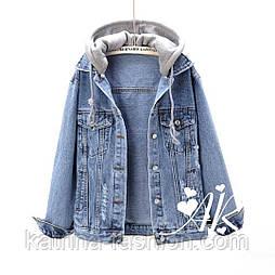 Женская джинсовка  свободного кроя с капюшоном