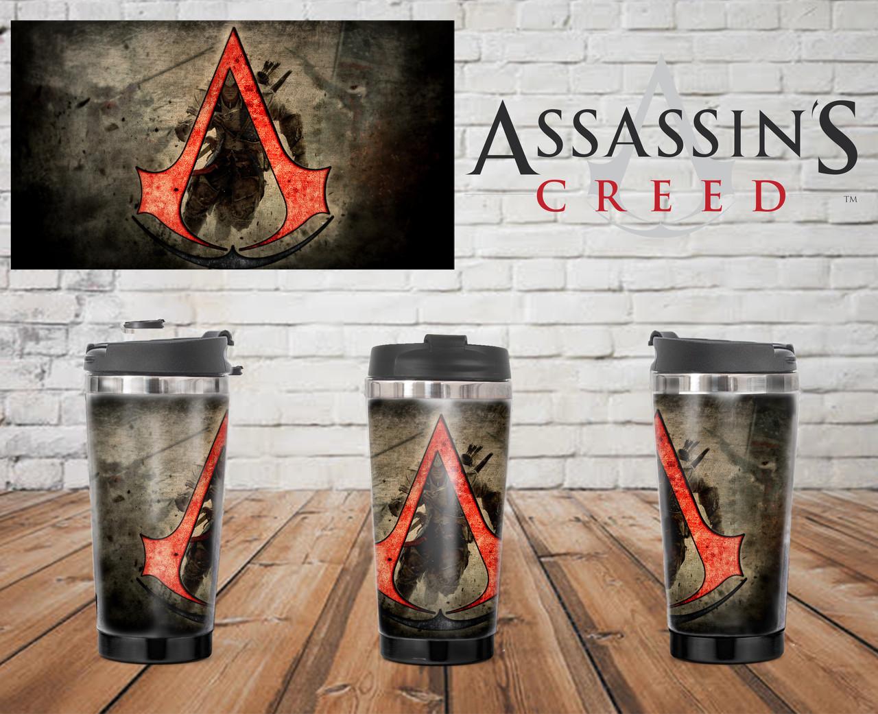 """Термостакан Ассасин """"лого"""" красное / Assassin's Creed"""
