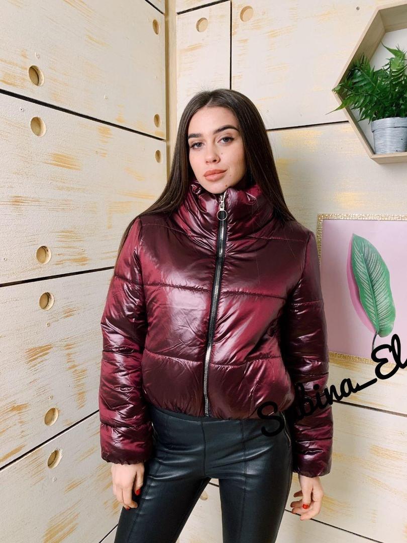 Женская стильная короткая куртка,бордового цвета