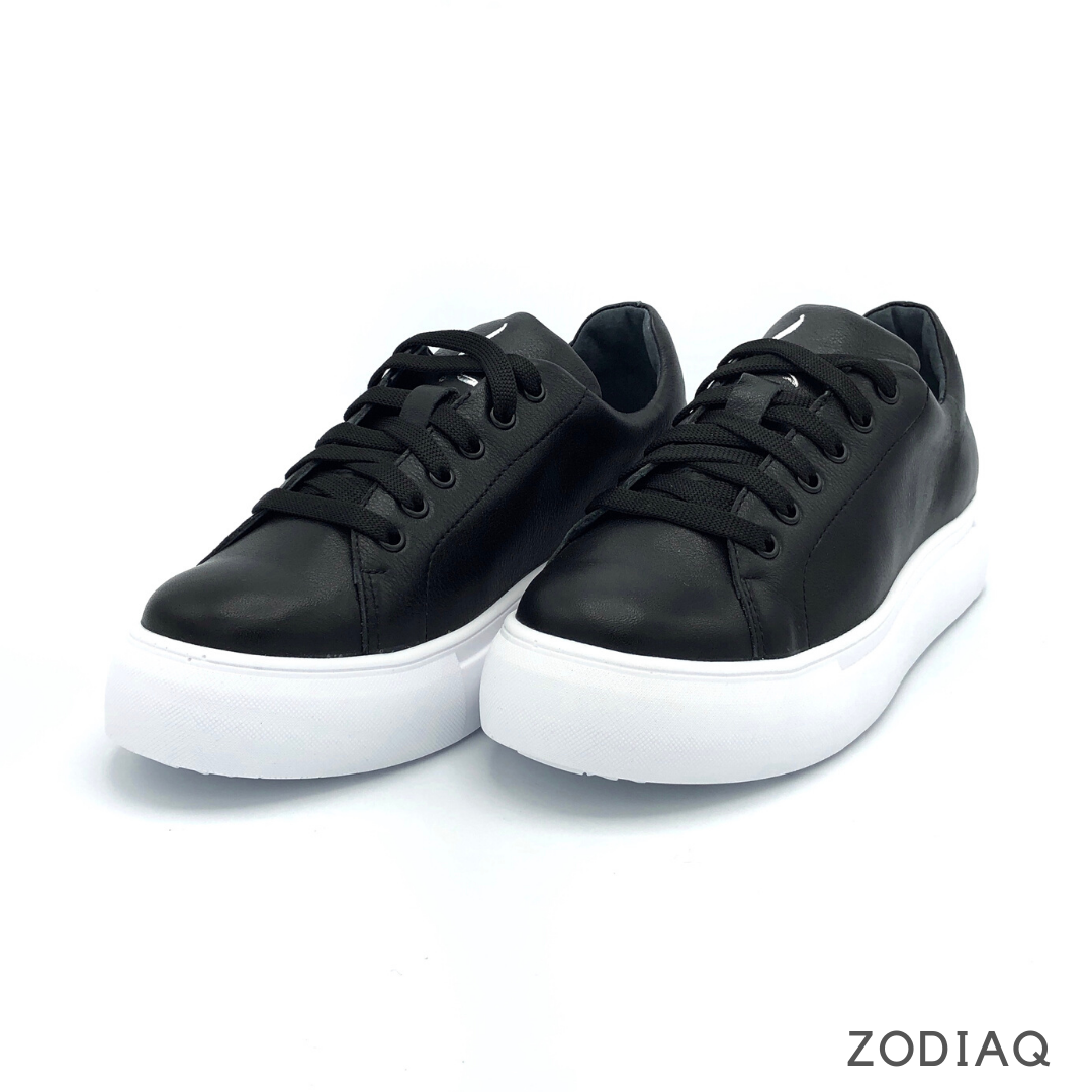 Кеды женские кожаные черные весна - t2163-2