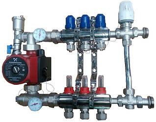 Коллектор для теплого пола AquaWorld на 4 контура в сборе с трехходовым клапаном регулировки температуры
