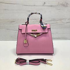 Сумка в стиле Хермес Келли 28см фактура сафьяно, эко-кожа (0373) Розовый