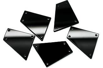 Пришивные зеркальные стразы, Размер:27x28 мм, Цвет Черный. Цена за 10шт.