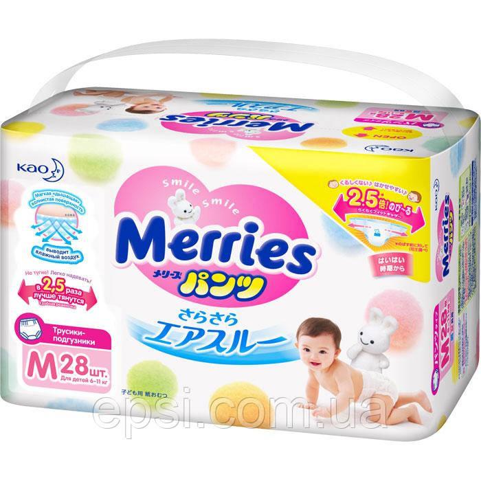 Трусики-підгузки Merries для дітей M (6-11 кг), 28 шт