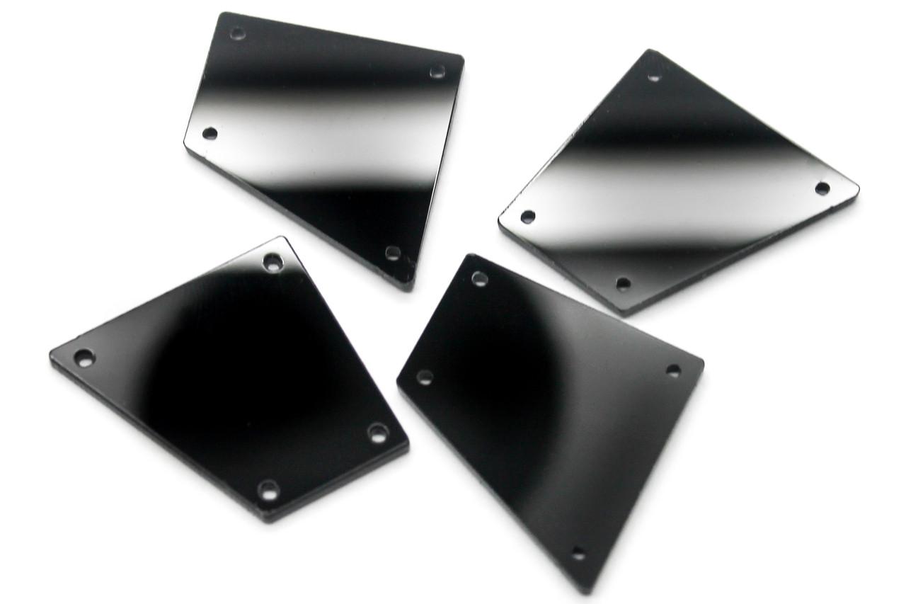Пришивные зеркальные стразы, Размер:26x27 мм, Цвет Черный. Цена за 10шт.