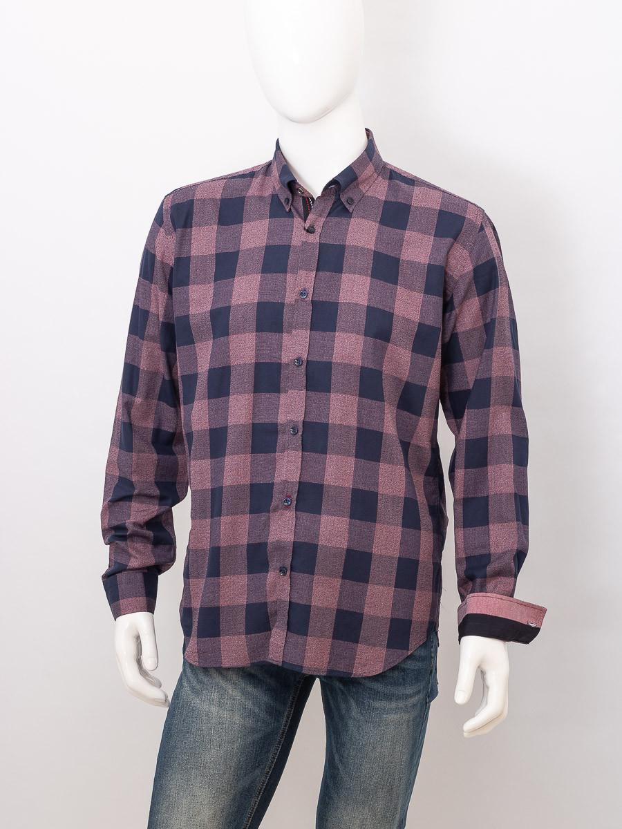Рубашка с длинным рукавом мужская ZEN-ZEN 01566 LACIVERT 01 (BORDO CHECK)