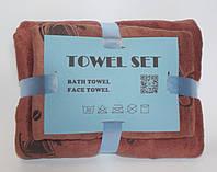 Полотенце рушник набор, 140*70 и 0.75*0.35, баня и лицо