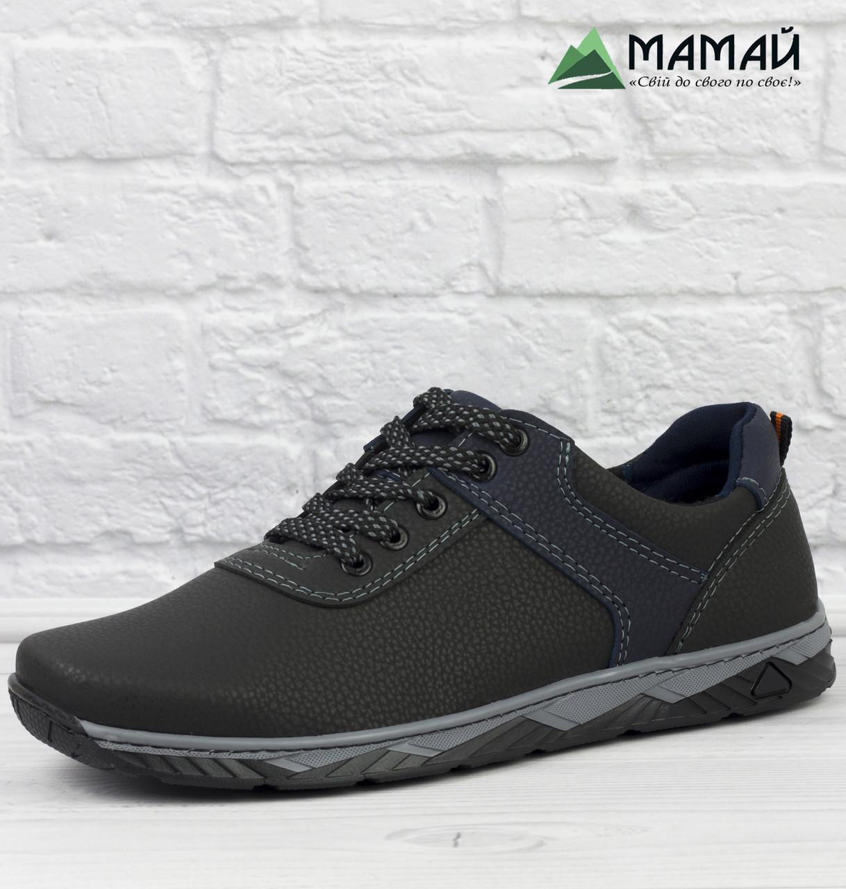 Чоловічі кросівки чорні з прошитою підошвою 40р