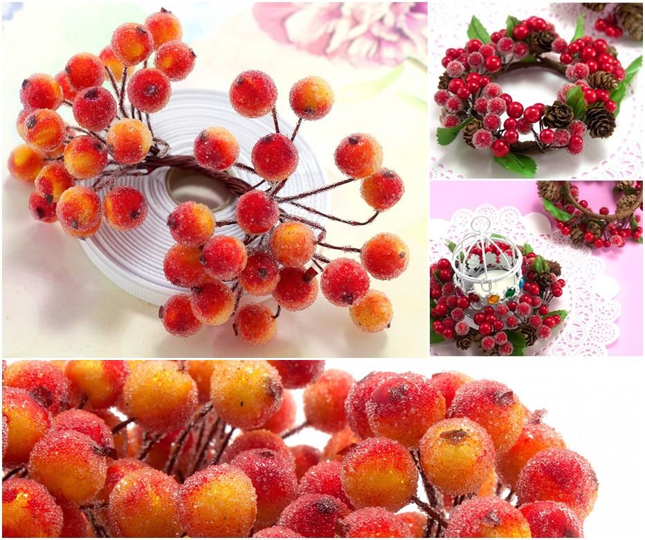 (Пучок) Калина сахарная для рукоделия  Ø12мм, 40 ягодок Цвет - Оранжевый с красным бочком