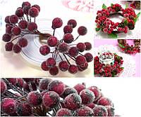 (Пучок) Калина сахарная для рукоделия  Ø12мм, 40 ягодок Цвет - Бордовый, фото 1