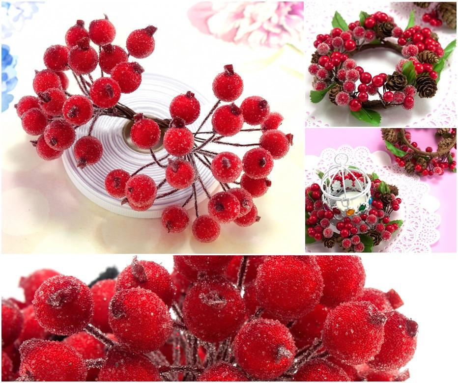 (Пучок) Калина сахарная для рукоделия  Ø12мм, 40 ягодок Цвет - Красный