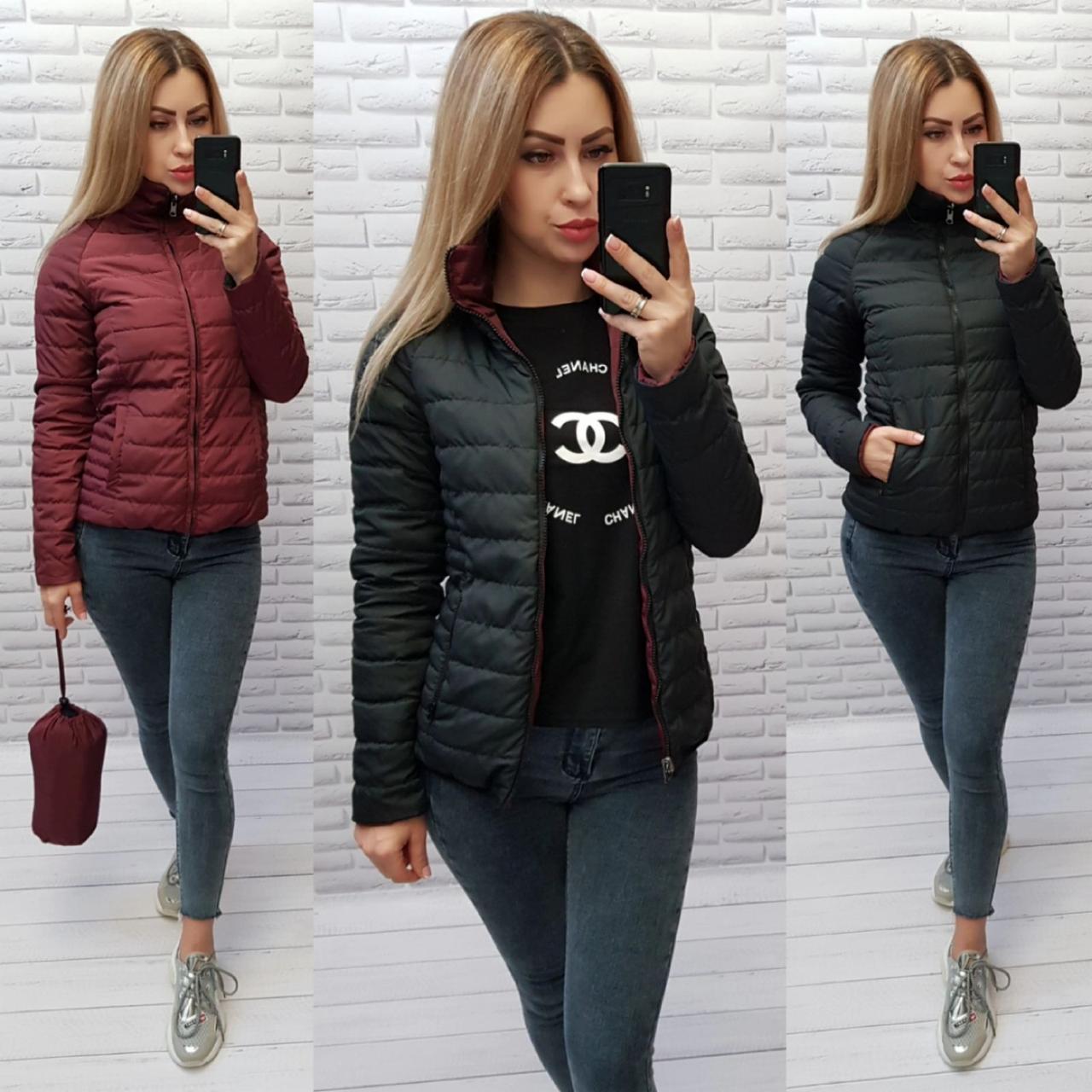 Куртка короткая двухсторонняя арт. M555 черный + бордо / черная и марсала