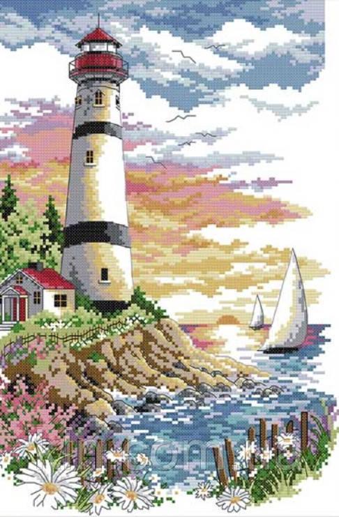 Набор для вышивки счетным крестом Маяк на берегу моря 30х40 см (арт. MK109)