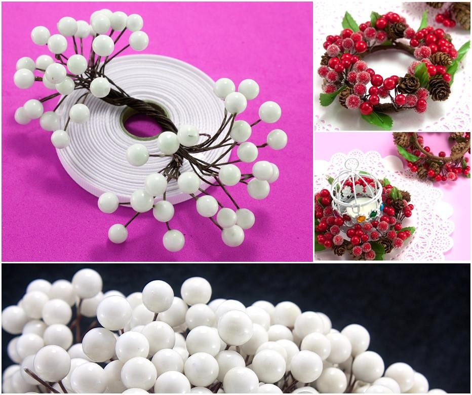 (Пучок) Калина лаковая для рукоделия  Ø7-8мм, 50 ягодок Цвет - Белый