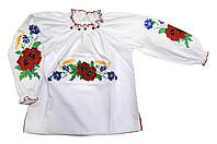 Вышиванка Маків цвіт детская для девочки 164, белый